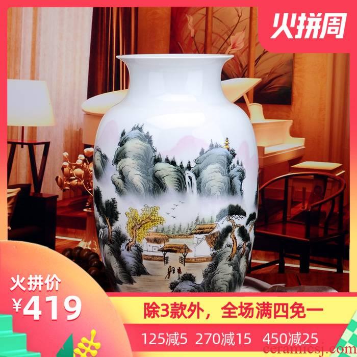 Porcelain of jingdezhen ceramic hand - made ceramic vase celebrity famous landscape vase modern home furnishing articles