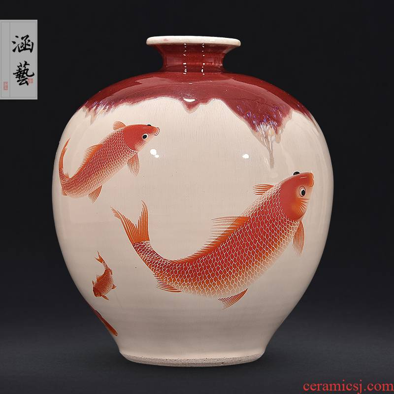 Jingdezhen ceramics up with ruby red archaize crack every year more than the vase flower arrangement of Chinese style living room home furnishing articles