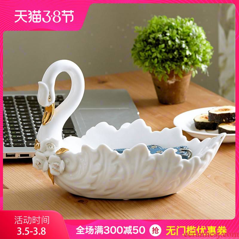 European ceramic tea table hallway porch key sundry receive dish home sitting room adornment swan furnishing articles with a gift