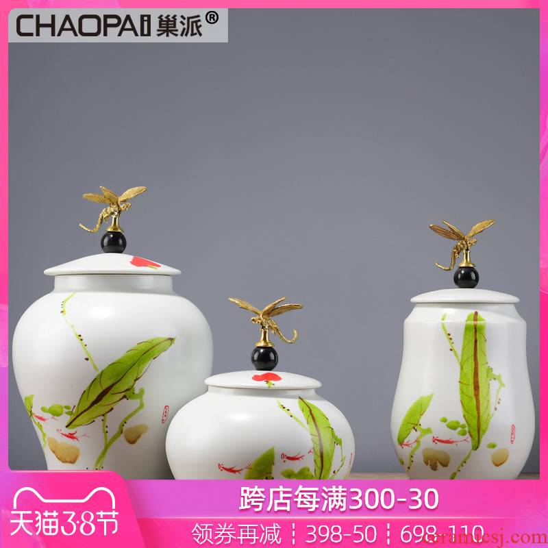 Chinese style dragonfly water storage tank is rustic ceramic furnishing articles boss side view Taiwan office soft decoration