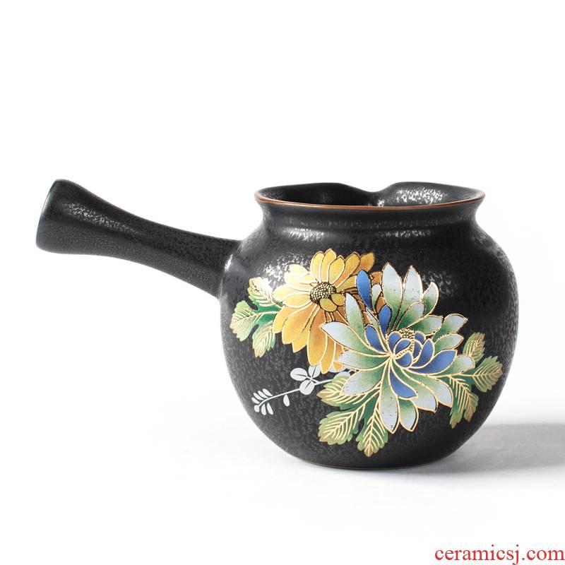 NiuRen retro rust glaze ceramic fair keller of black tea sea kung fu tea tea service parts points, a large male cup