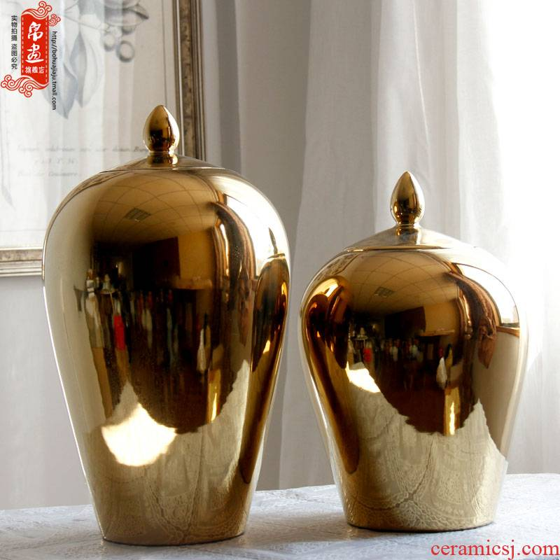 Furnishing articles jingdezhen ceramic vases, modern new Chinese style household gold - plated example room decoration crafts flower arrangement sitting room