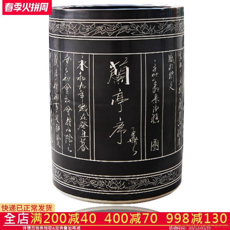 Jingdezhen ceramic handicraftsmen scroll painting and calligraphy calligraphy and painting cylinder cylinder study large sitting room adornment is placed ground vase
