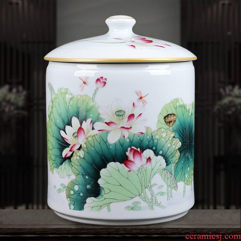 Jingdezhen ceramics famille rose porcelain vase home sitting room adornment furnishing articles of handicraft fragrant lotus classical caddy fixings
