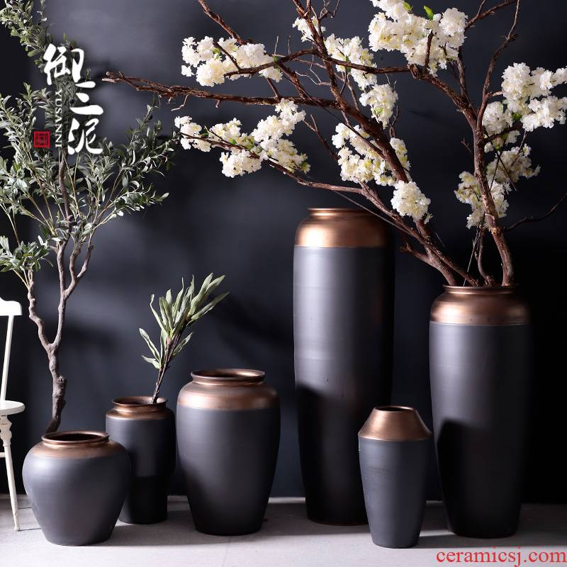 Large vases, jingdezhen ceramic I and contracted Europe type Nordic furnishing articles villa living room window flower arrangement suits for