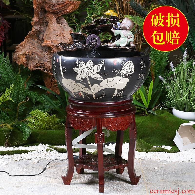 Jingdezhen with who pillar type filter water fountains ceramic aquarium decoration cycle water fish bowl