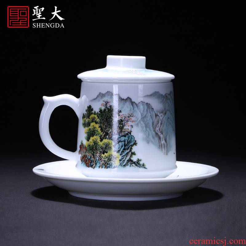 Holy big office cup hand - made ceramic pastel landscape cover cup comfortable belt filter keller cups of jingdezhen tea service