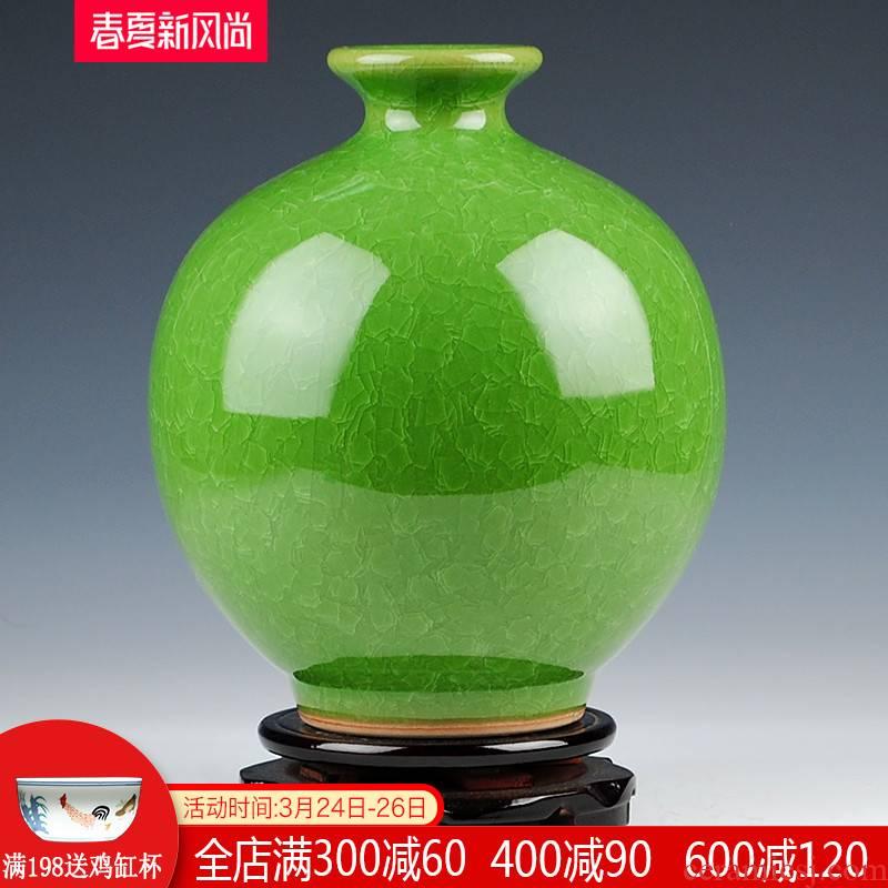 Archaize borneol jingdezhen ceramics up crack glaze vase flower arrangement of Chinese style living room home furnishing articles