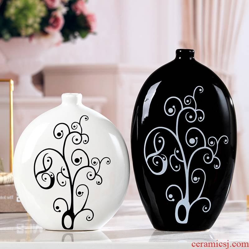 Jingdezhen ceramic household act the role ofing is tasted creative vase sitting room place black and white contracted and I crafts desktop decoration