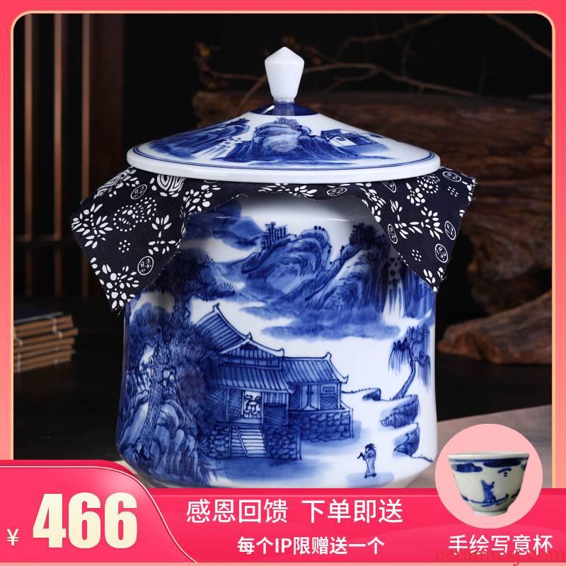 Jingdezhen ceramic tea pot of tea gift box packaging gm caddy fixings blue - and - white celadon seal storage tank