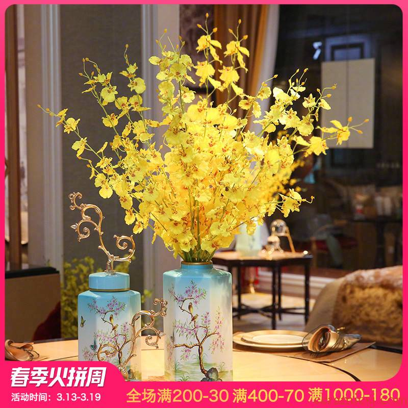 New Chinese style ceramic vases, flower arranging furnishing articles creative storage tank sitting room between European modern example ornaments