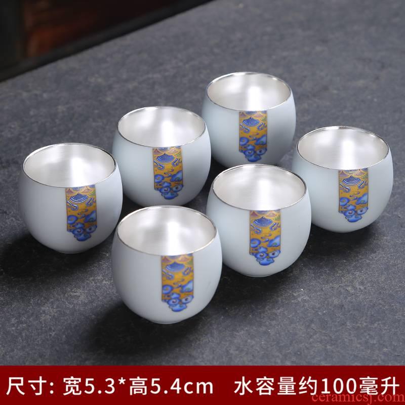Inferior smooth fat white ceramic cups sample tea cup kung fu tea set small bowl name plum single CPU master cup tea light