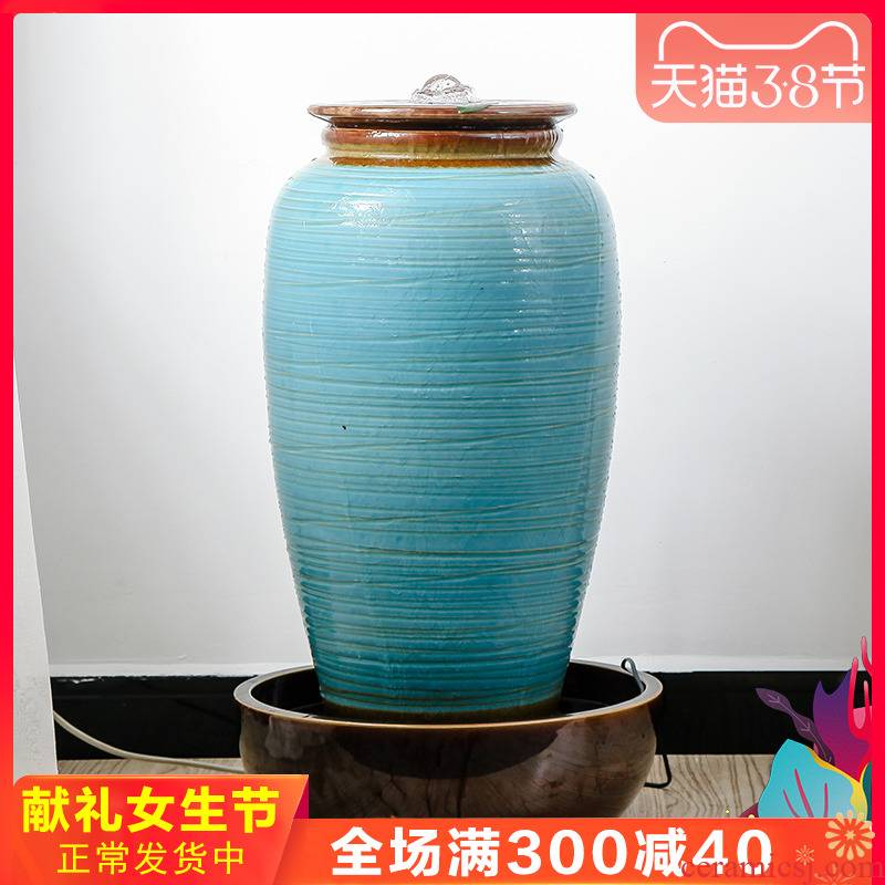 Ceramic European sitting room ground water fountain creative furnishing articles ornaments large - scale humidifier wedding gift