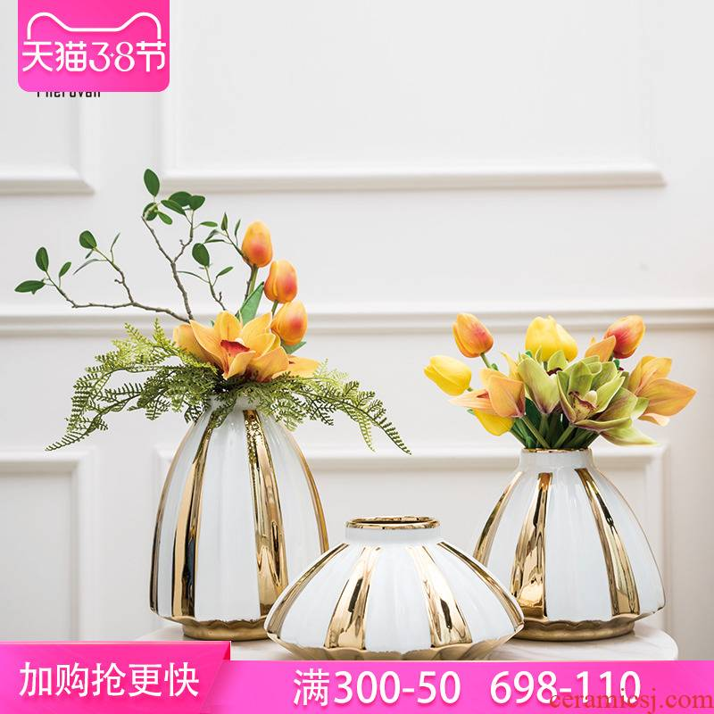Nordic light key-2 luxury ceramic vase example room porch desk decoration wine flower arranging creative small place