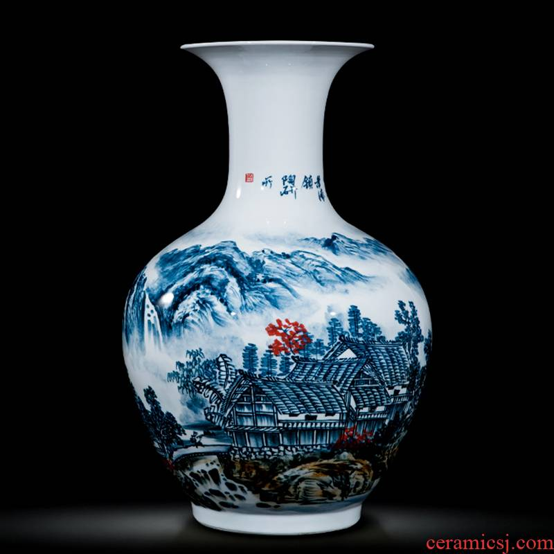 Jingdezhen ceramics celebrity hand - made the master of landscape painting large vases, home furnishing articles villa living room office