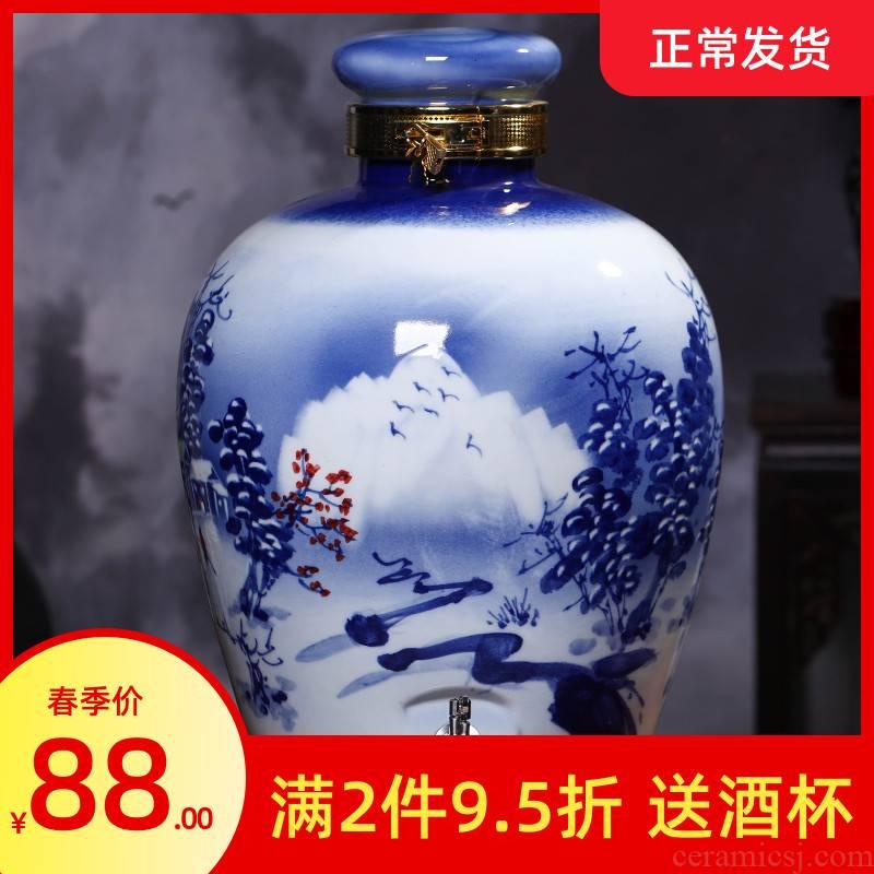 Jingdezhen blue and white porcelain mercifully bottle 10 jins 20 jins 50 kg liquor altar ceramic empty it home wine jar tap
