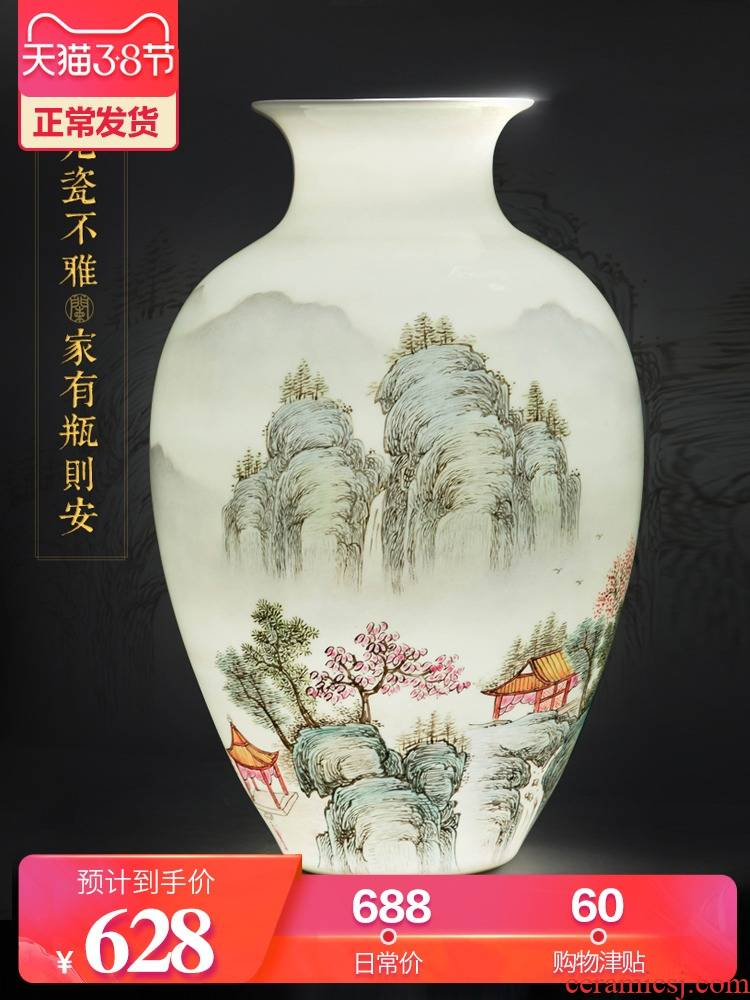 New Chinese style of jingdezhen ceramics powder enamel hand - made big vase furnishing articles flower arranging home sitting room decoration decoration process
