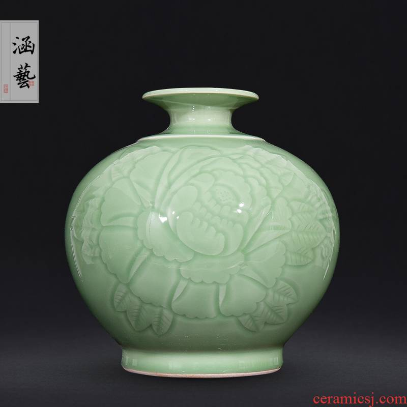 Jingdezhen ceramics shadow blue vase peony Chinese wine sitting room porch home decoration carving gifts furnishing articles