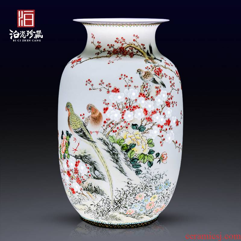 Jingdezhen ceramics hand carved flower vase Chinese modern bedroom sitting room adornment is placed a wedding gift