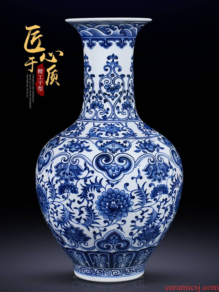Jingdezhen ceramic antique hand - made large blue and white porcelain vase furnishing articles flower arranging new Chinese style living room porch decoration decoration