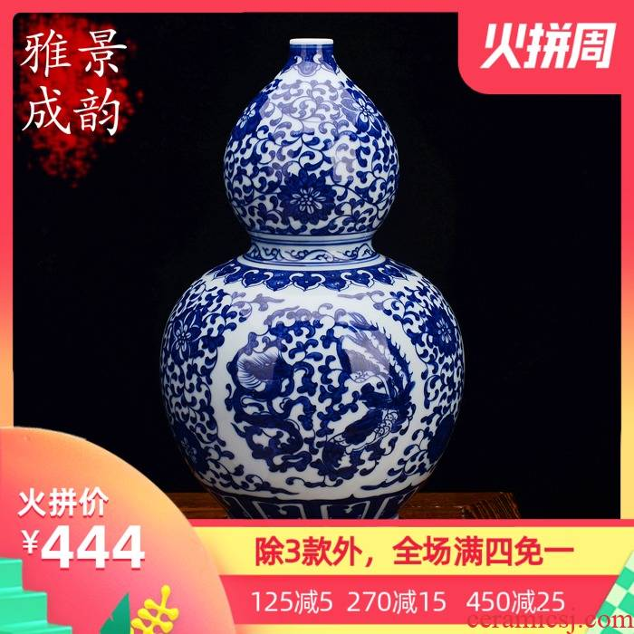 Jingdezhen blue and white gourd archaize ceramics porcelain vase living room TV ark place to live in arts and crafts