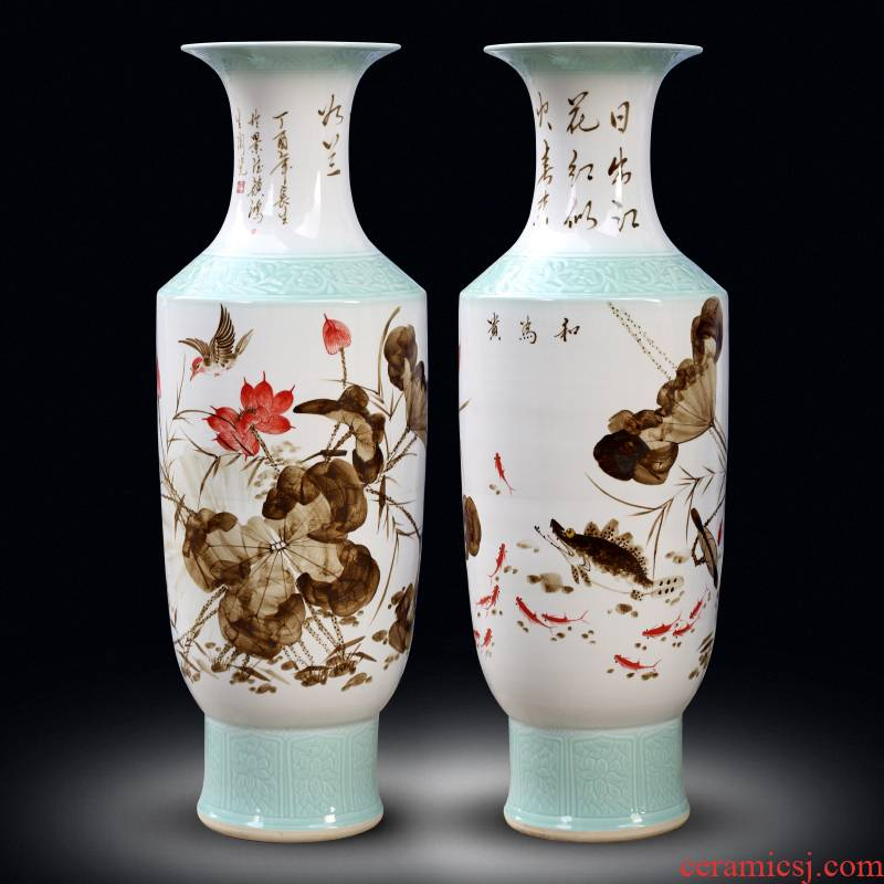 Jingdezhen ceramics of large vases, hand - made famille rose porcelain of reconciliation sitting room adornment large - sized furnishing articles