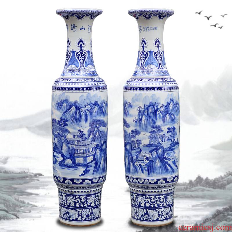 Jingdezhen blue and white porcelain hand - made splendid sunvo landscape painting of large vases, sitting room hotel lobby company in furnishing articles