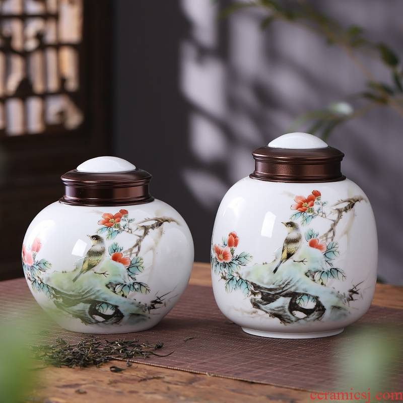 Jingdezhen ceramic caddy fixings small half jins, 200 g sealed tank storage POTS Chinese style household moistureproof and portable