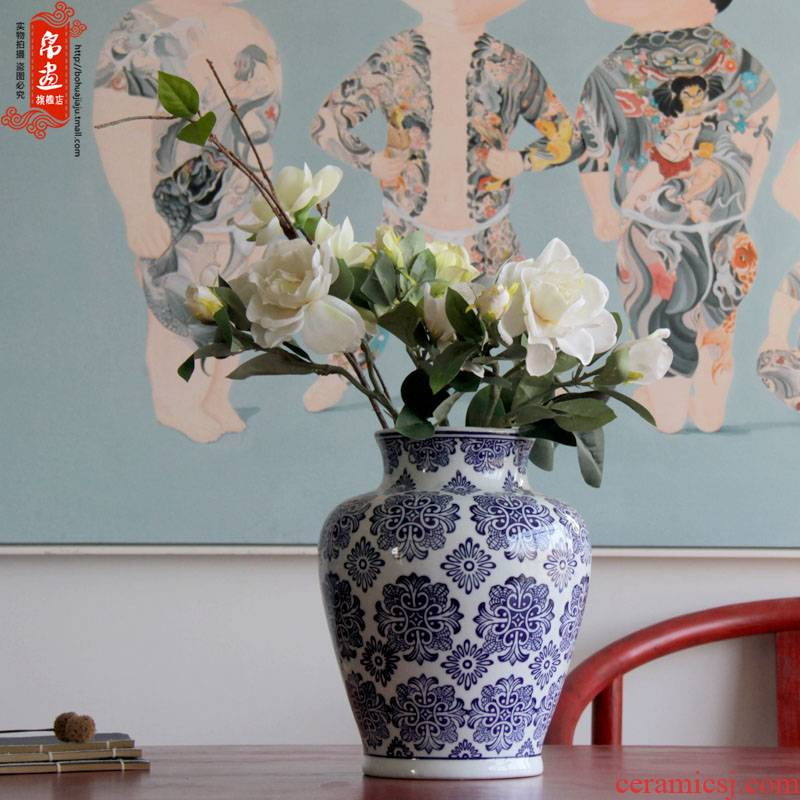 Blue and white porcelain of jingdezhen ceramics flower receptacle living room home decoration flower arranging home furnishing articles
