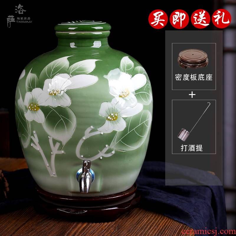 Jingdezhen ceramic jars it mercifully wine bottle wine jar 10 jins 20 jins 30 jins of 50 kg bottle altar