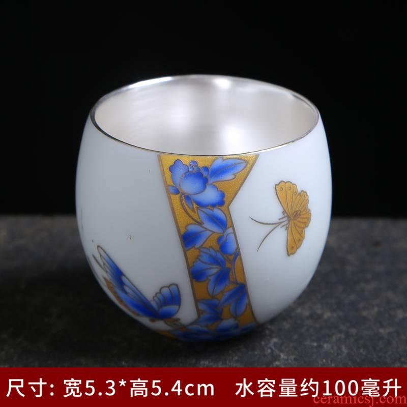 Small single cup bowl dehua white porcelain ceramic tea sets, kung fu master sample tea cup tea cups purple sand tea cup