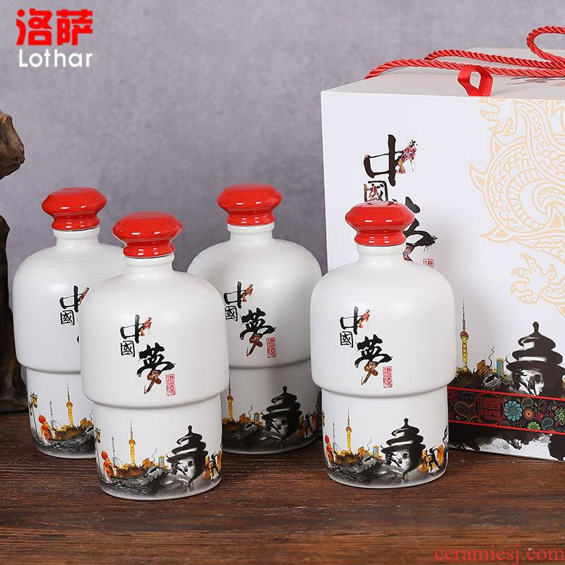 Jingdezhen ceramic bottle creative furnishing articles suit household gifts bulk alcohol altar wine 1 catty put bottles