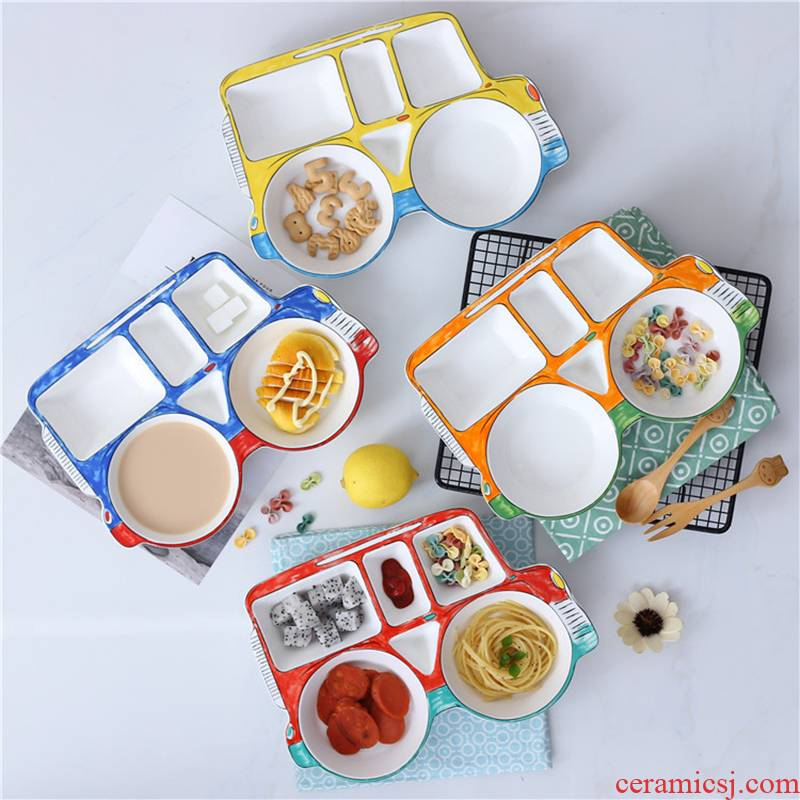 Love graces large creative hand - made ceramic separation plate jeep tableware auxiliary lovely children