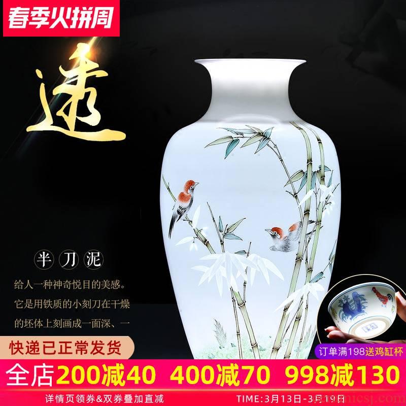 The Master of jingdezhen ceramics hand - made enamel vase thin foetus bamboo knife clay to I sitting room adornment