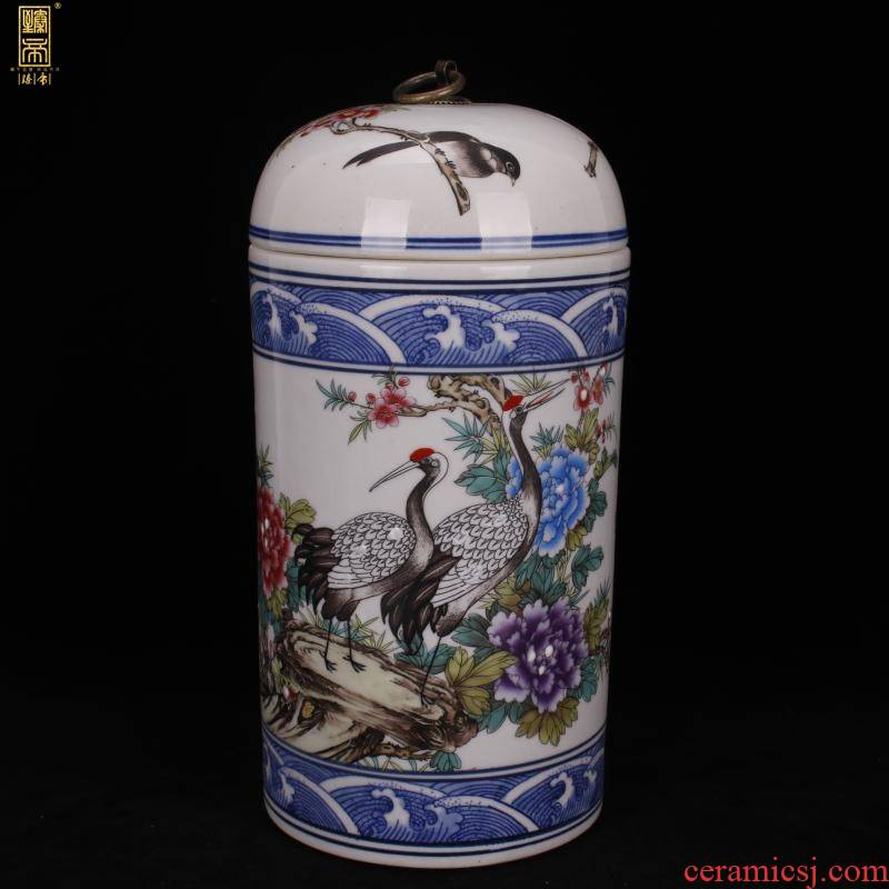Jingdezhen imitation yongzheng bucket color rich and peaceful cranes lines cover pot of ark of desk of Chinese style household imitation antique decorative furnishing articles