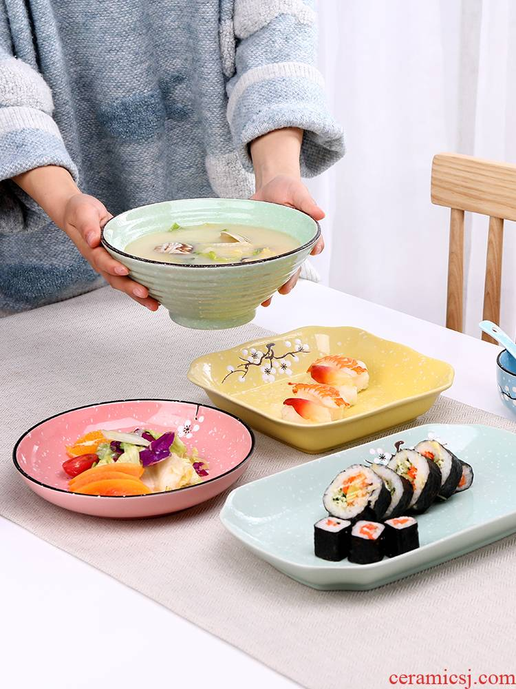 Creative dish plate plate plate plate plate irregular household Japanese ceramic fish steak ceramic plate of household