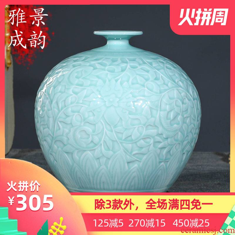 Jingdezhen ceramics art furnishing articles of new Chinese style restoring ancient ways is the high temperature glaze vase is I and contracted literary and artistic ideas