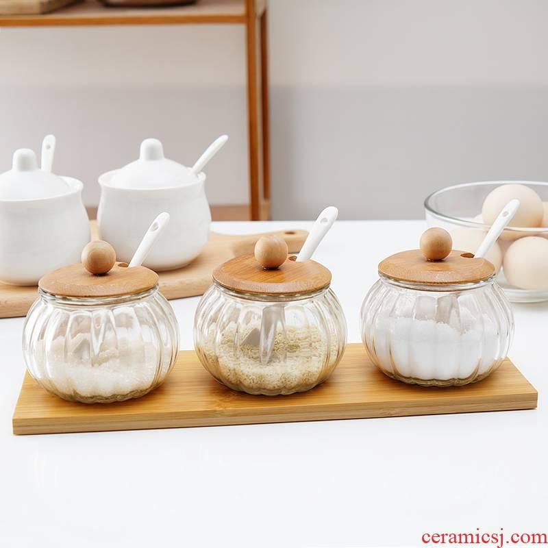 Kitchen glass condiment boxed set combined with creative household ceramics seasoning salt pot seasoning bottle