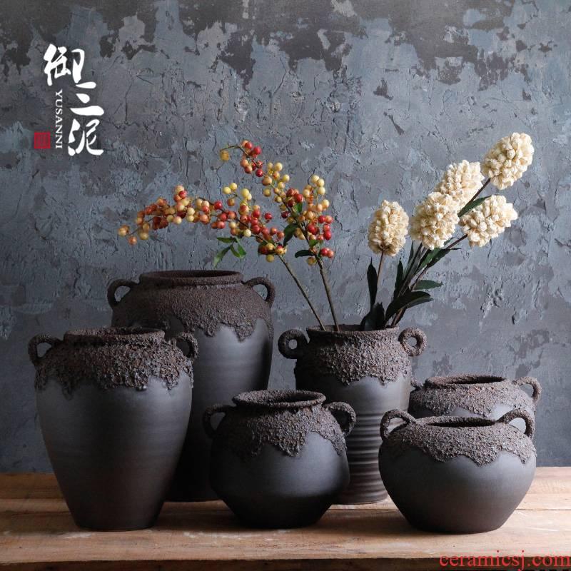 Thick black terms ceramic dry flower pot some ceramic porcelain craft vase of jingdezhen ceramic mud retro floral flower arranging furnishing articles
