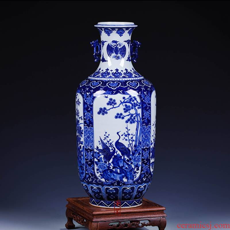 Antique hand - made porcelain of jingdezhen ceramics window flower fireworks bottles of rich ancient frame sitting room home decoration furnishing articles