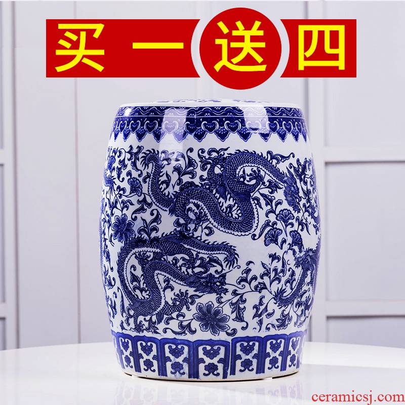 Jingdezhen blue and white same ricer box ceramic barrel 50 jins home 20 insect moisture - proof seal to rice storage box with cover