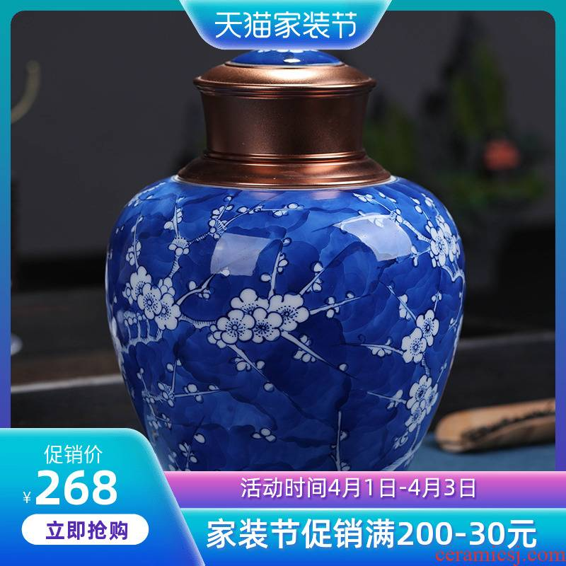 Blue and white porcelain of jingdezhen ceramics seal tea pu - erh tea packaging tin restoring ancient ways in the Chinese wind who was orange number
