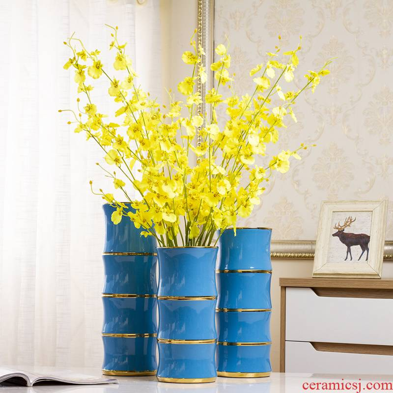 Light of jingdezhen ceramic vase key-2 luxury furnishing articles north European style living room dry flower arranging flowers lucky bamboo flowers home decoration