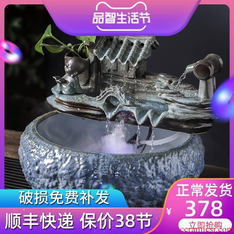 Jingdezhen round ceramic aquarium sitting room feng shui plutus automatic cycle water furnishing articles feng shui jiangnan water wheel