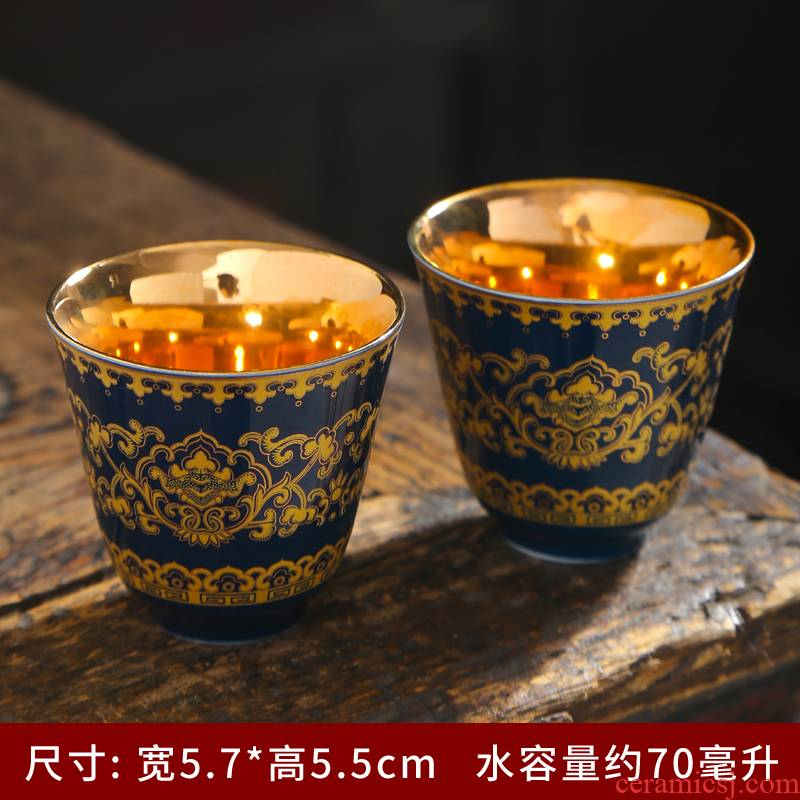 Jingdezhen ceramic famille rose colored enamel around single branch lotus masters cup kung fu tea tea tea cup bowl, trumpet