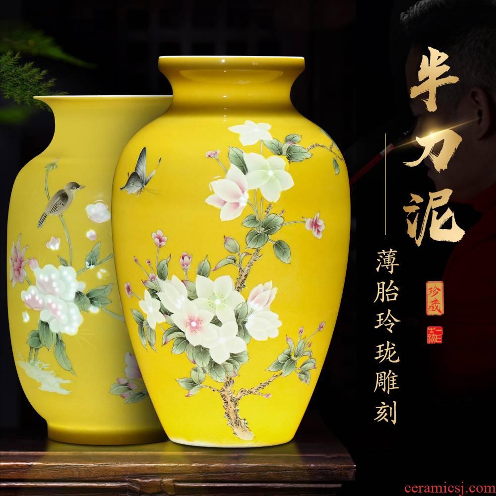 Jingdezhen ceramics vase flower arranging furnishing articles creative home sitting room TV cabinet decoration wedding gift