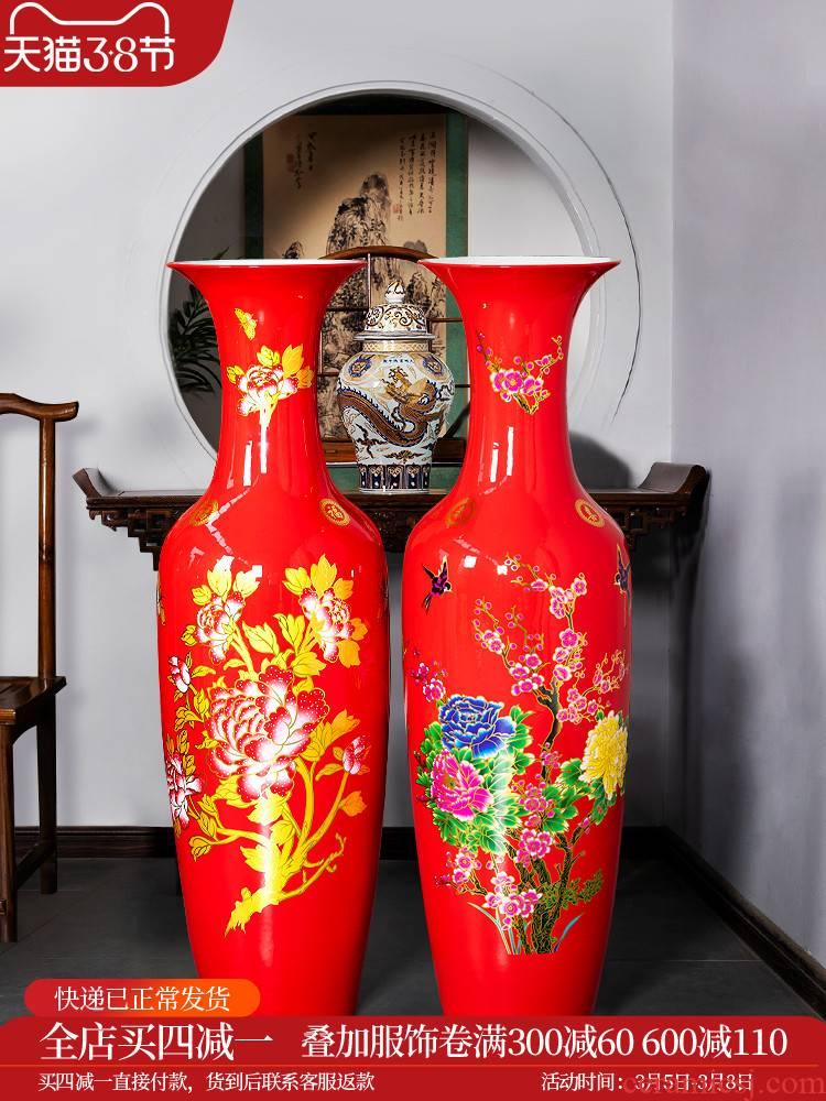 Jingdezhen ceramics China red large vases, flower arrangement home sitting room new adornment large - sized furnishing articles