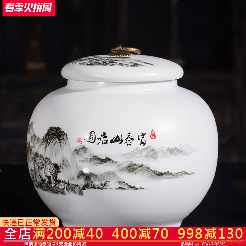 Jingdezhen ceramics large caddy fixings a kilo is installed sealed with cover household storage jar pu - erh tea warehouse