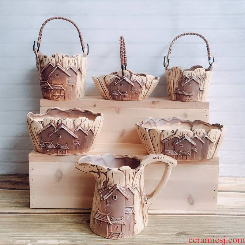 Creative board housing style move flowerpot ceramic flowerpot more meat meat meat plant large flower pot on sale
