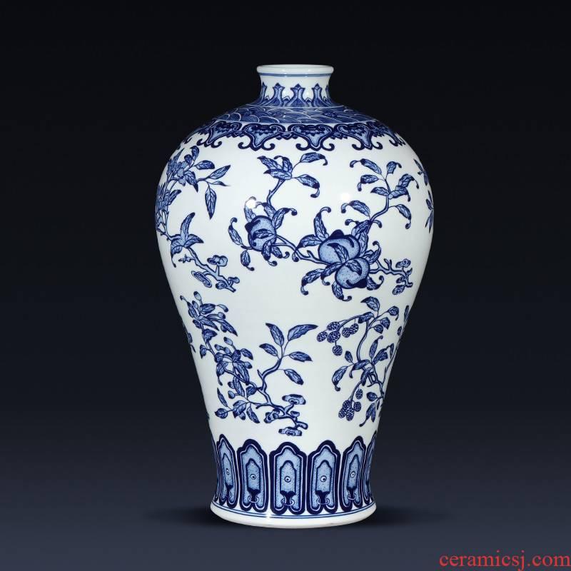 Jingdezhen ceramics imitation qianlong hand - made of new Chinese blue and white porcelain vases, flower arrangement sitting room place celebration gift